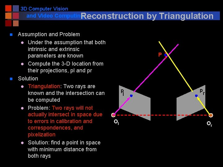 3 D Computer Vision and Video Computing Reconstruction n n Assumption and Problem l