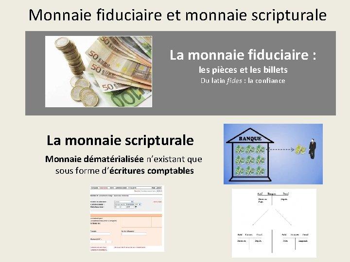 Monnaie fiduciaire et monnaie scripturale La monnaie fiduciaire : les pièces et les billets