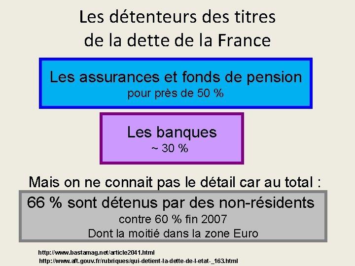 Les détenteurs des titres de la dette de la France Les assurances et fonds