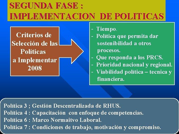 SEGUNDA FASE : IMPLEMENTACION DE POLITICAS Criterios de Selección de las Políticas a Implementar