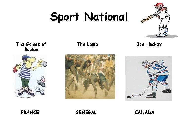 Sport National The Games of Boules FRANCE The Lamb SENEGAL Ice Hockey CANADA