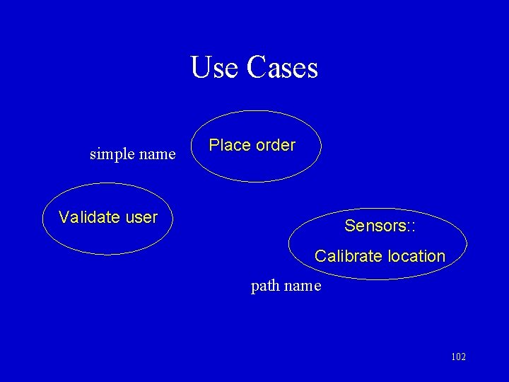 Use Cases simple name Place order Validate user Sensors: : Calibrate location path name