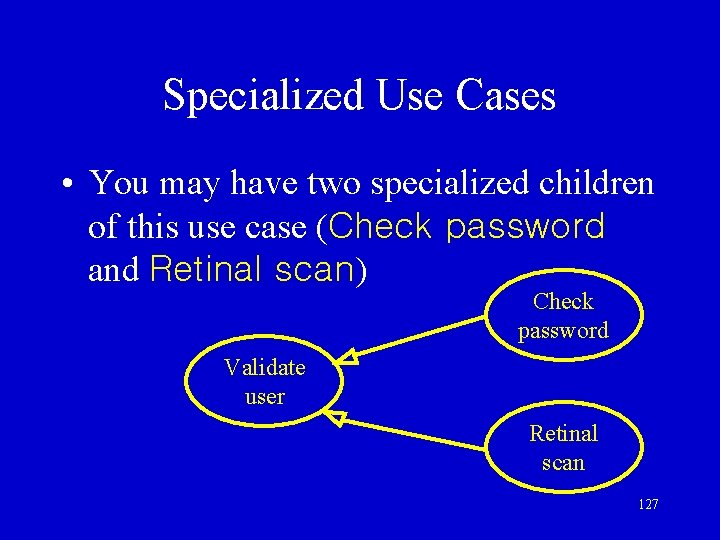 Specialized Use Cases • You may have two specialized children of this use case