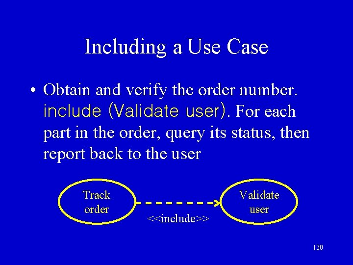 Including a Use Case • Obtain and verify the order number. include (Validate user).