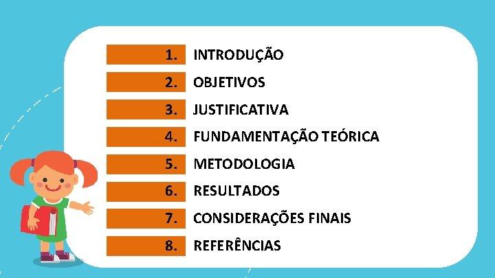 1. INTRODUÇÃO 2. OBJETIVOS 3. JUSTIFICATIVA 4. FUNDAMENTAÇÃO TEÓRICA 5. METODOLOGIA 6. RESULTADOS 7.
