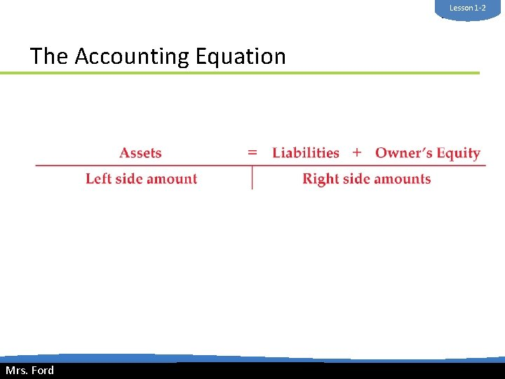 Lesson 1 -2 Mrs. Ford The Accounting Equation Mrs. Ford © 2014 Cengage Learning.