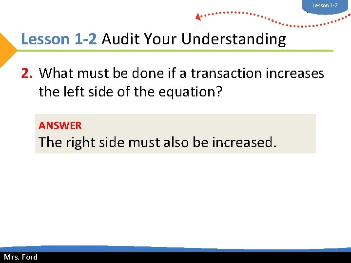 Lesson 1 -2 Mrs. Ford Lesson 1 -2 Audit Your Understanding 2. What must
