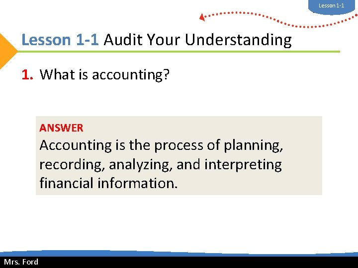 Lesson 1 -1 Mrs. Ford Lesson 1 -1 Audit Your Understanding 1. What is