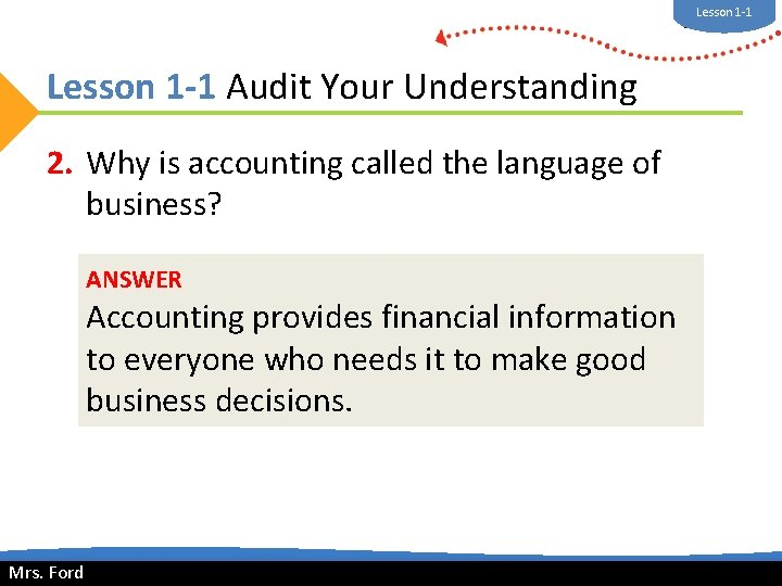 Lesson 1 -1 Mrs. Ford Lesson 1 -1 Audit Your Understanding 2. Why is