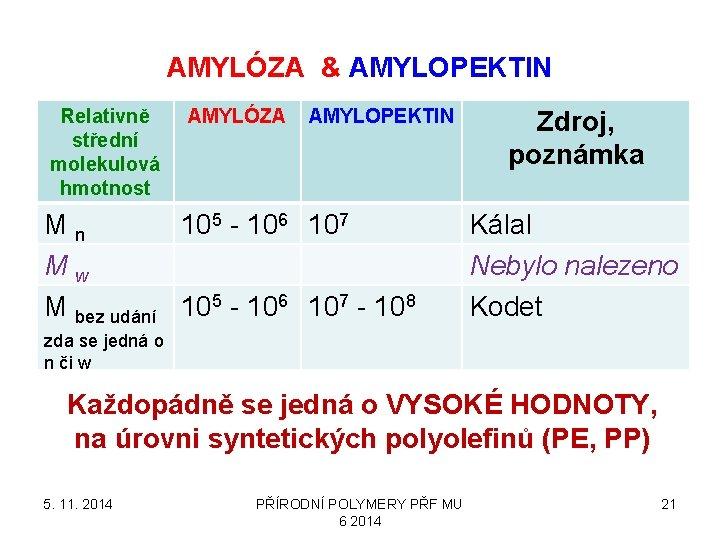 AMYLÓZA & AMYLOPEKTIN Relativně střední molekulová hmotnost AMYLÓZA AMYLOPEKTIN Mn 105 - 106 107