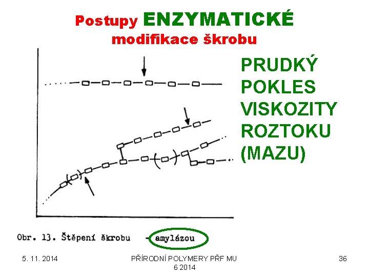 Postupy ENZYMATICKÉ modifikace škrobu PRUDKÝ POKLES VISKOZITY ROZTOKU (MAZU) 5. 11. 2014 PŘÍRODNÍ POLYMERY