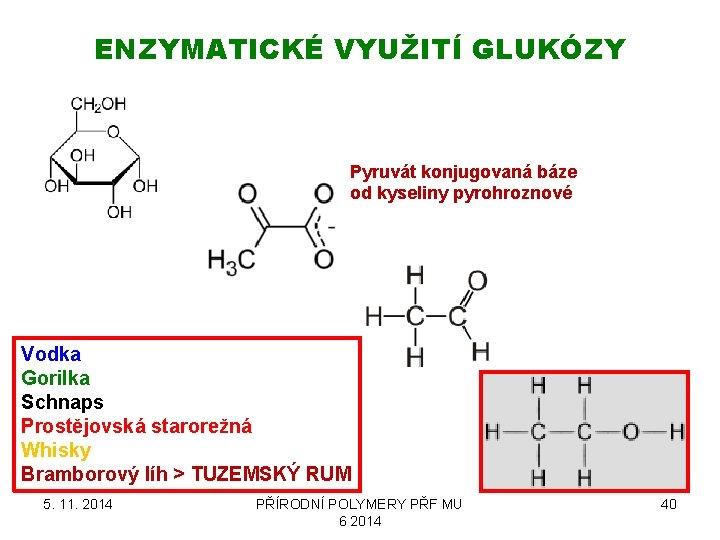ENZYMATICKÉ VYUŽITÍ GLUKÓZY Pyruvát konjugovaná báze od kyseliny pyrohroznové Vodka Gorilka Schnaps Prostějovská starorežná