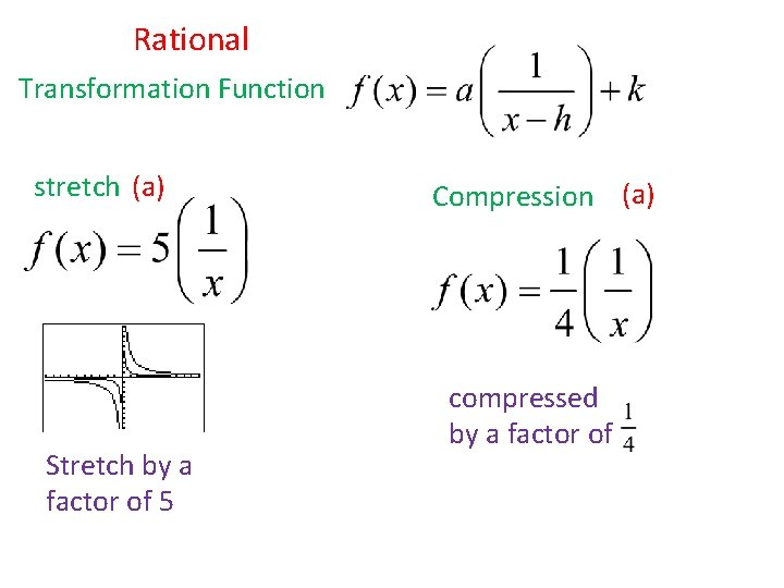 Rational Transformation Function stretch (a) Stretch by a factor of 5 Compression (a) compressed