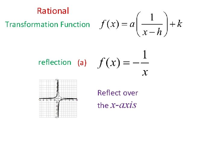 Rational Transformation Function reflection (a) Reflect over the x-axis