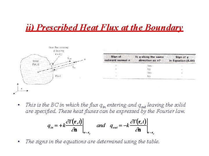 ii) Prescribed Heat Flux at the Boundary • This is the BC in which