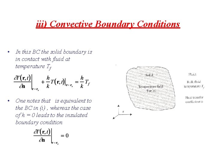 iii) Convective Boundary Conditions • In this BC the solid boundary is in contact