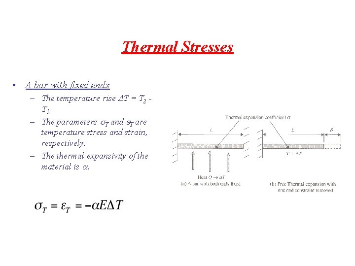 Thermal Stresses • A bar with fixed ends – The temperature rise DT =