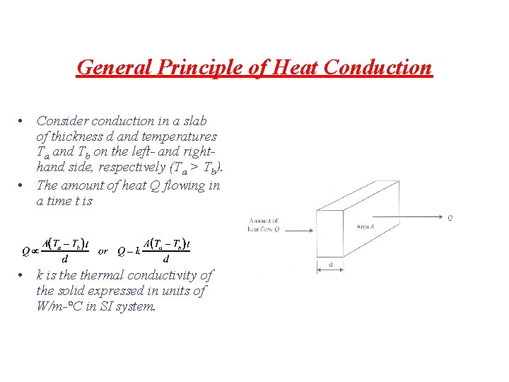 General Principle of Heat Conduction • Consider conduction in a slab of thickness d