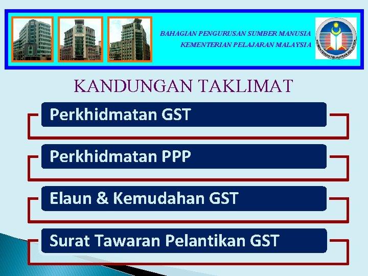 BAHAGIAN PENGURUSAN SUMBER MANUSIA KEMENTERIAN PELAJARAN MALAYSIA KANDUNGAN TAKLIMAT Perkhidmatan GST Perkhidmatan PPP Elaun