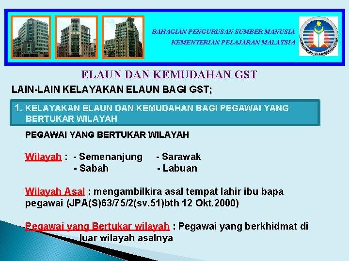 BAHAGIAN PENGURUSAN SUMBER MANUSIA KEMENTERIAN PELAJARAN MALAYSIA ELAUN DAN KEMUDAHAN GST LAIN-LAIN KELAYAKAN ELAUN