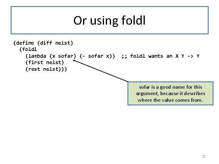 Or using foldl (define (diff nelst) (foldl (lambda (x sofar) (- sofar x)) ;