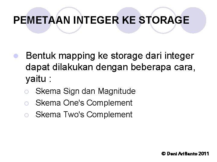 PEMETAAN INTEGER KE STORAGE l Bentuk mapping ke storage dari integer dapat dilakukan dengan