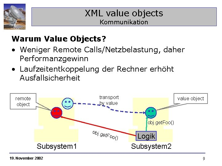 XML value objects Kommunikation Warum Value Objects? • Weniger Remote Calls/Netzbelastung, daher Performanzgewinn •