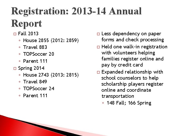 Registration: 2013 -14 Annual Report � � Fall 2013 ◦ House 2855 (2012: 2859)
