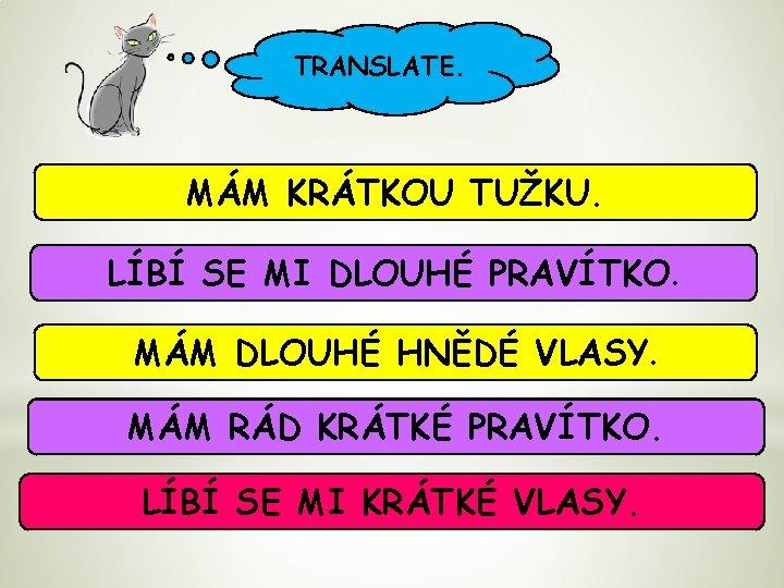 TRANSLATE. MÁM KRÁTKOU TUŽKU. LÍBÍ SE MI DLOUHÉ PRAVÍTKO. MÁM DLOUHÉ HNĚDÉ VLASY. MÁM