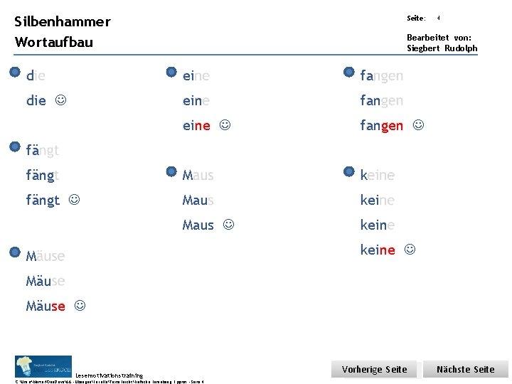 Übungsart: Silbenhammer Seite: Wortaufbau Bearbeitet von: Siegbert Rudolph d ei fa die ein fan