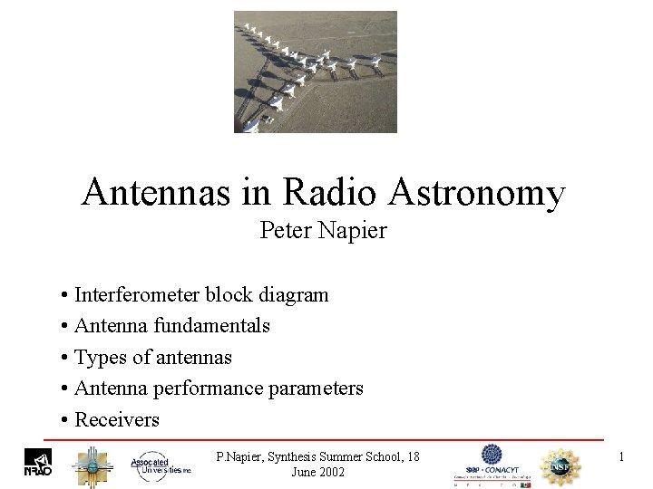 Antennas in Radio Astronomy Peter Napier • Interferometer block diagram • Antenna fundamentals •