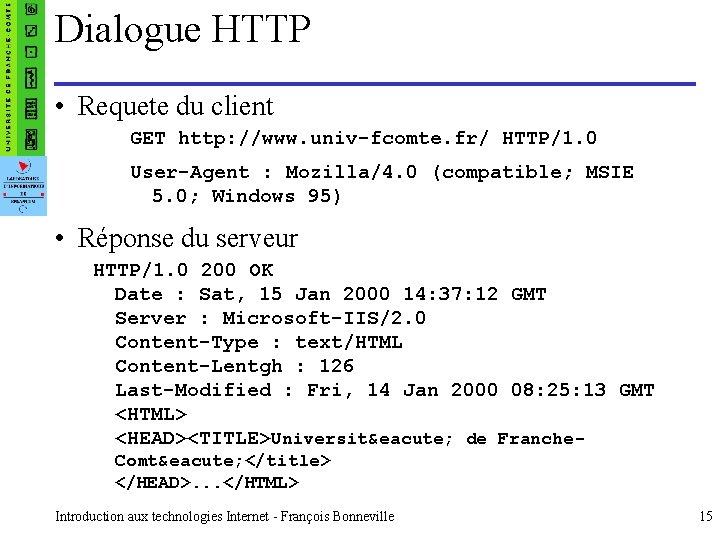 Dialogue HTTP • Requete du client GET http: //www. univ-fcomte. fr/ HTTP/1. 0 User-Agent