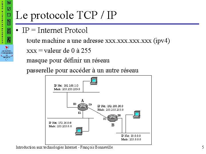 Le protocole TCP / IP • IP = Internet Protcol toute machine a une