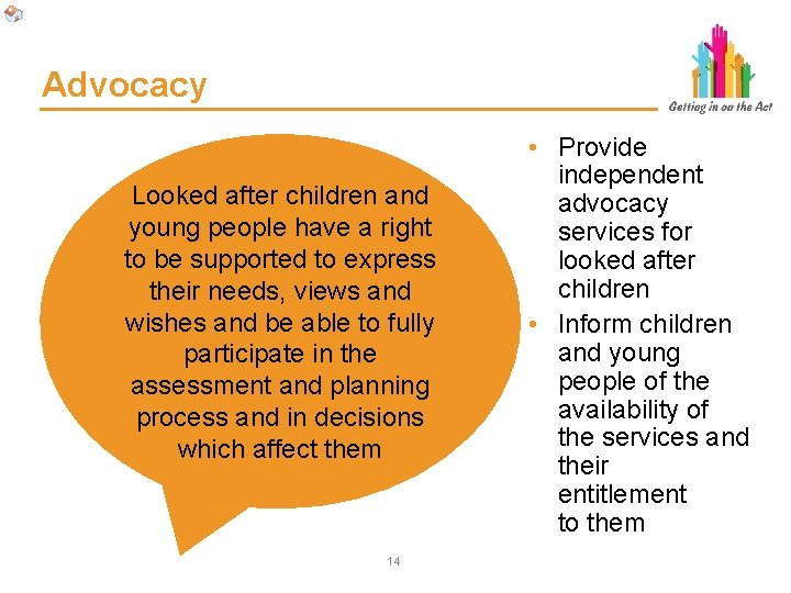 Advocacy Looked after children and young people have a right to be supported to