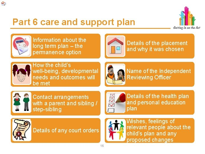 Part 6 care and support plan Information about the long term plan – the
