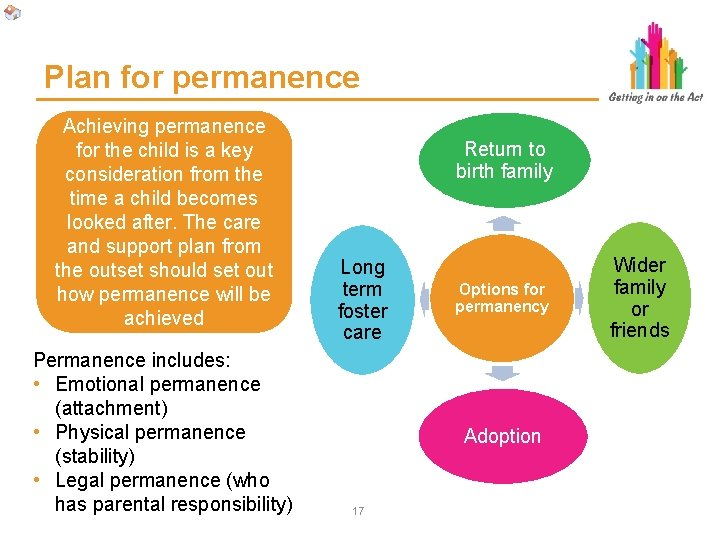 Plan for permanence Achieving permanence for the child is a key consideration from the