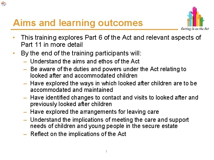 Aims and learning outcomes • This training explores Part 6 of the Act and