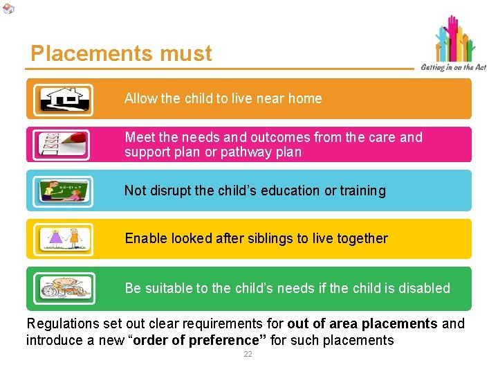 Placements must Allow the child to live near home Meet the needs and outcomes