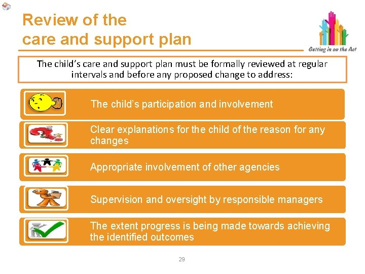 Review of the care and support plan The child's care and support plan must