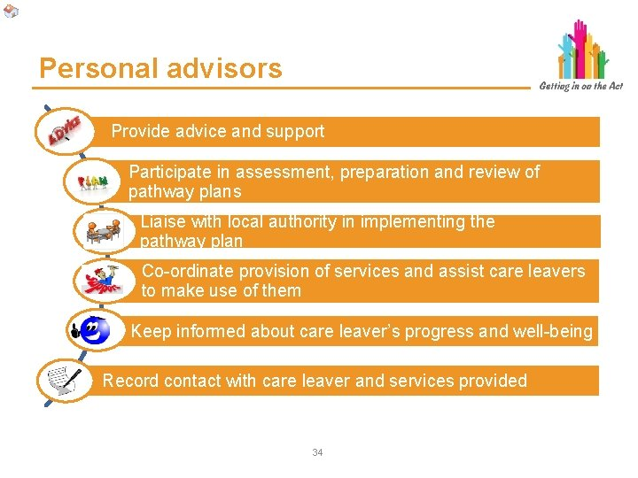 Personal advisors Provide advice and support Participate in assessment, preparation and review of pathway