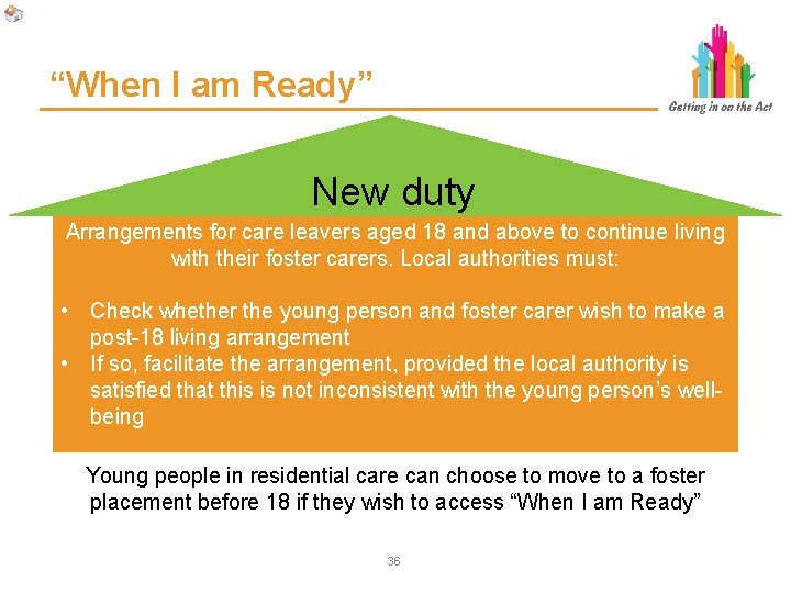 """""""When I am Ready"""" New duty Arrangements for care leavers aged 18 and above"""