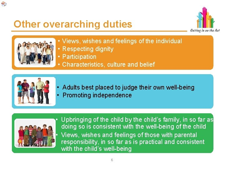 Other overarching duties • • Views, wishes and feelings of the individual Respecting dignity