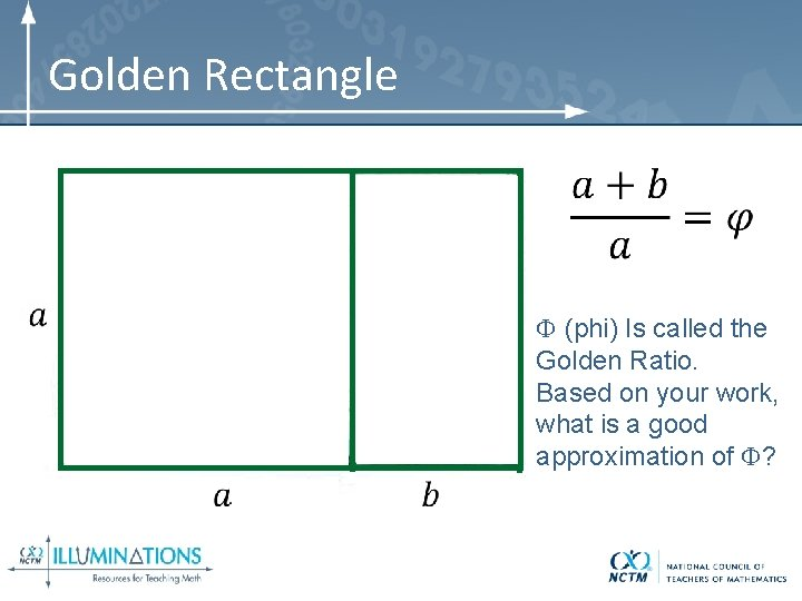 Golden Rectangle (phi) Is called the Golden Ratio. Based on your work, what is