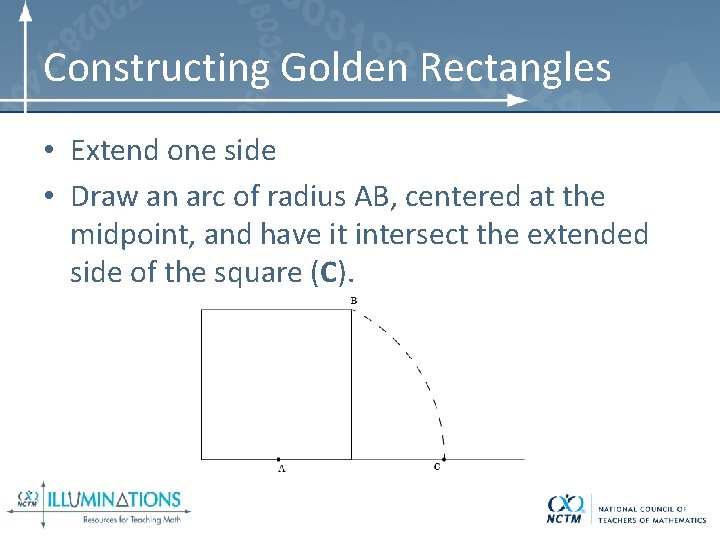 Constructing Golden Rectangles • Extend one side • Draw an arc of radius AB,