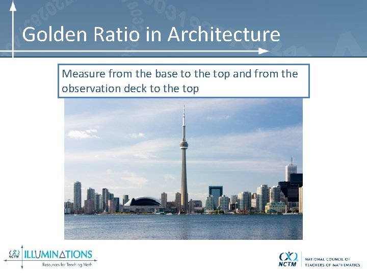 Golden Ratio in Architecture Measure from the base to the top and from the