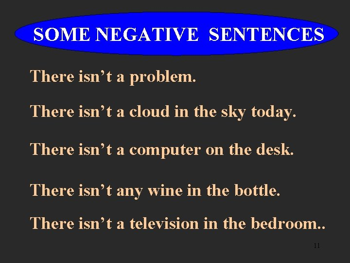 SOME NEGATIVE SENTENCES There isn't a problem. There isn't a cloud in the sky