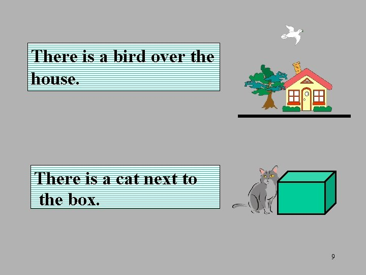 There is a bird over the house. There is a cat next to the