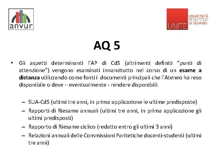 """AQ 5 • Gli aspetti determinanti l'AP di Cd. S (altrimenti definiti """"punti di"""