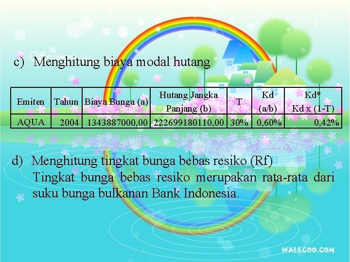 c) Menghitung biaya modal hutang Hutang Jangka Kd Emiten Tahun Biaya Bunga (a) T