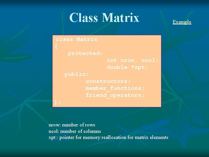 Class Matrix class Matrix { protected: int nrow, ncol; double *xpt; public: constructors; member_functions;
